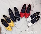 2019夏季新款漆皮小皮鞋百搭女鞋尖頭平底單鞋女淺口低跟粗跟套腳『艾麗花園』