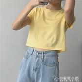 muzi 20春/夏天的風 多色棉質圓領短款露臍純色T恤短上衣 女短袖 母親節禮物