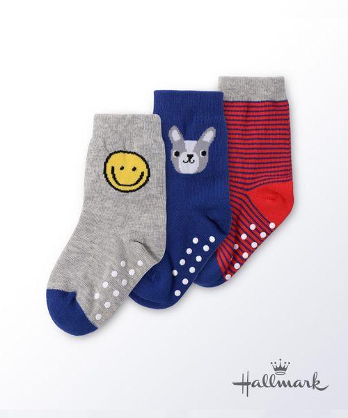 Hallmark Babies徽章男童棉線百搭中筒襪子三件裝HG3-R07-C4-CB-DB