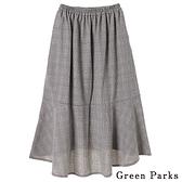 「Hot item」格紋拼接喇叭裙 - Green Parks