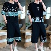 中國風棉麻短袖印花套裝寬鬆七分褲復古亞麻男裝兩件式潮流一套 DR29024【衣好月圓】