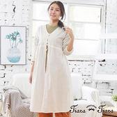 【Tiara Tiara】百貨同步aw 水玉鏤空袖綁帶傘下擺長罩衫(白/藍)