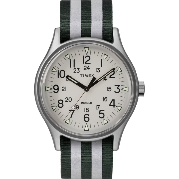 【TIMEX】天美時 MK1 潮流軍錶(銀面/銀綠條紋 TXTW2R80900)