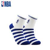 NBA 平版襪 MIT 運動配件 LogoMan條紋刺繡短襪 (白/藍)