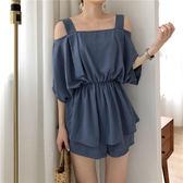 VK精品服飾 韓國風一字領吊帶露肩上衣寬鬆顯瘦寬口褲套裝短袖褲裝