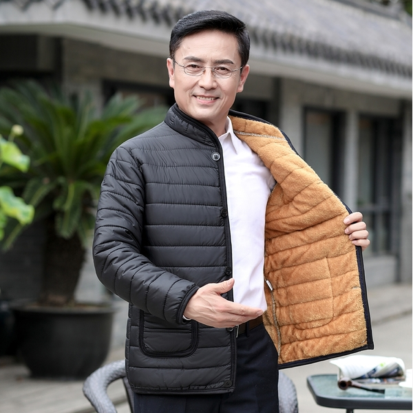 厚款韓版外套舒適保暖羽絨外套 時尚大碼夾克男外套加絨 男士外套冬季潮流棉服加厚男生外套