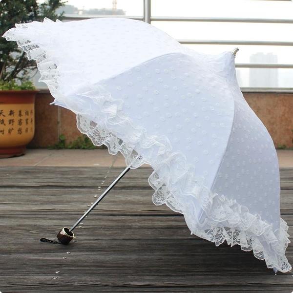 Lolita三折黑膠白色黑色大蕾絲防曬太陽傘晴雨傘淑女公主傘寶塔傘