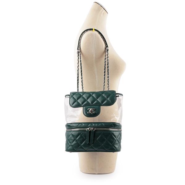 【CHANEL】透明PVC拼皮銀鏈肩背包 (綠) CH11000482