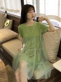 網紗裙 牛油果綠連衣裙女夏2019新款很仙的桔梗裙短袖網紗裙【快速出貨】