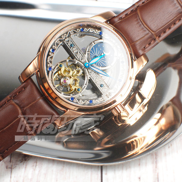 valentino coupeau 范倫鐵諾 簍空自動上鍊機械錶 日月星辰 防水手錶 雕花男錶 真皮錶帶 V6169TR玫