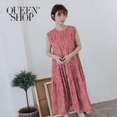 Queen Shop【01084593】夏日感條紋傘擺無袖洋裝*現+預*