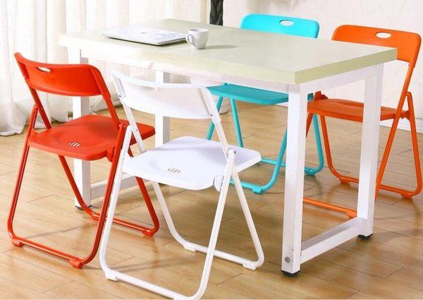 電腦椅摺疊椅子靠背簡易家用塑料凳子餐椅摺疊凳辦公休閒便攜培訓WD 晴天時尚館