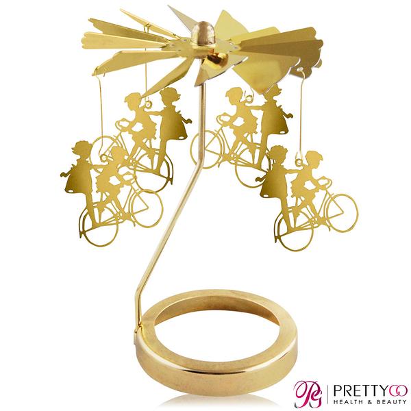O Pretty 歐沛媞 歐式旋轉燭罩蠟燭台(金)-男孩和女孩 限量加贈YANKEE CANDLE 香氛蠟燭【美麗購】