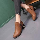 2019秋冬新款高跟粗跟時尚歐美女鞋短靴尖頭英倫女靴馬丁靴及裸靴
