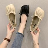 2020春新款軟底奶奶鞋復古褶皺平底單鞋女鞋百搭大頭娃娃鞋工作鞋 歐歐