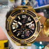 【INVICTA】三繩ㄧ生 - 三眼計時腕錶 - 黑金繩索