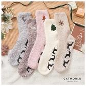 Catworld 交換禮物*北歐風刺繡珊瑚絨襪【18900499】‧F