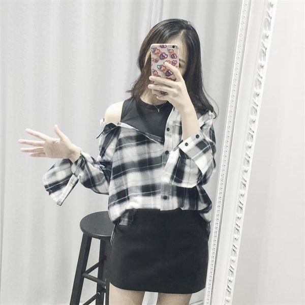 (全館一件免運)DE SHOP~假兩件襯衫【MM-5290】