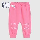 Gap嬰兒 碳素軟磨系列 法式圈織童趣運動休閒褲 821671-粉色