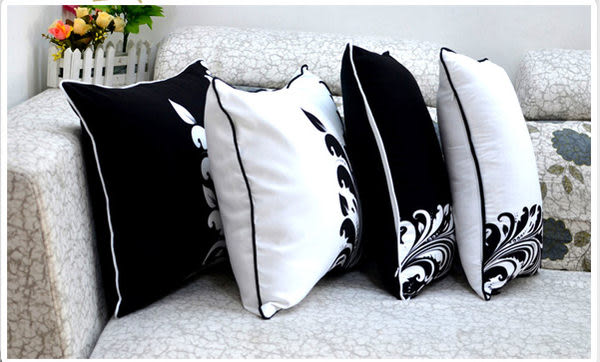 時尚幾何黑白印花沙發靠枕 抱枕 腰枕 靠背墊