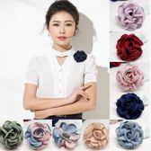 韓國布藝花朵胸針時尚簡約胸花大氣復古外套開別針衫配飾女H0109