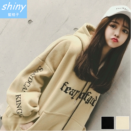 【V2150】shiny藍格子-休閒美風‧字母寬鬆連帽長袖上衣