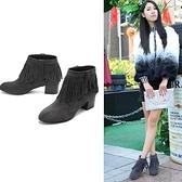 真皮短靴-歐美時尚粗跟側拉鍊流蘇女靴子2色72a29【巴黎精品】