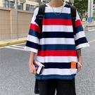 春夏短T桖條紋5分袖t恤男生寬松半袖情侶裝2021新款潮流夏季潮牌短袖體恤