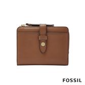 FOSSIL FIONA 金釦設計多卡拉鍊零錢短夾-咖啡色 SL7703200