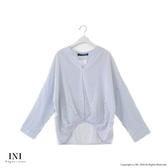 【INI】注目自在、反折袖連袖條紋上衣.白色