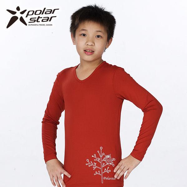 Polarstar 兒童 排汗│遠紅外線│兒童V領保暖衣 P13226『棗紅』