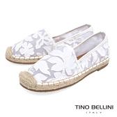 Tino Bellini 雙層織網亮片叢花平底麻編休閒鞋_ 白 F83017