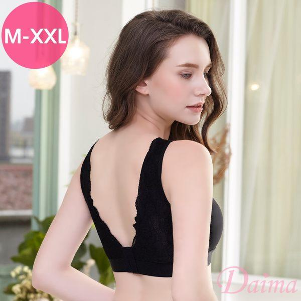 (M-XXL)時尚運動無痕無鋼圈蕾絲性感V型美背後扣式內衣_黑【Daima黛瑪】8016
