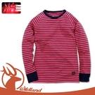 【Wildland 荒野 童 遠紅外線彈性條紋衣《桃紅》】0A12683/休閒衫/條紋/彈性/保暖衣