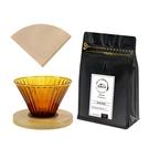 CoFeel凱飛 嚴選手沖咖啡玻璃濾杯+特調曼巴咖啡豆半磅~贈日本製針葉樹錐形濾紙100張(兩色隨機)