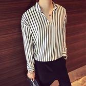 長袖襯衫 條紋長袖襯衫 男正韓V領套頭bf風休閒寬鬆襯衣 潮流帥氣發型師