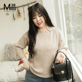 Miss38-(現貨)【A01093】大尺碼針織衫 九分袖上衣 圓領薄款毛衣 前短後長 寬鬆素面顯瘦- 中大尺碼