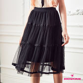 【SHOWCASE】唯美透膚雙層次澎紗短紗裙(黑)