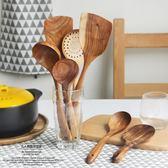 柚木天然漆勺子 日式木勺子調味勺撈勺木質長柄木鏟長柄湯勺飯勺【無趣工社】