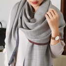 羊毛圍巾 意大利簡約風女薄款春秋純色長款百搭冬季保暖披肩兩用 瑪麗蘇