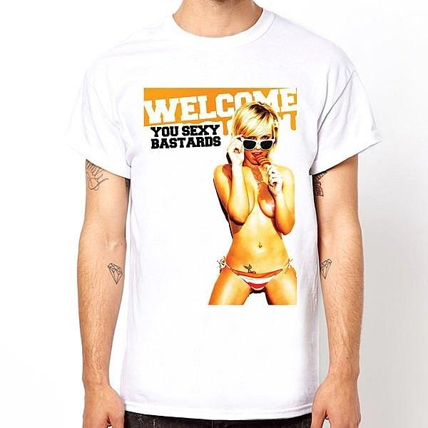 Welcome Bastards短袖T恤-白色 裸女相片潮流趣味幽默玩翻