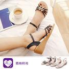 韓系浪漫優雅水鑽裝飾扣環楔型涼鞋/4色/...