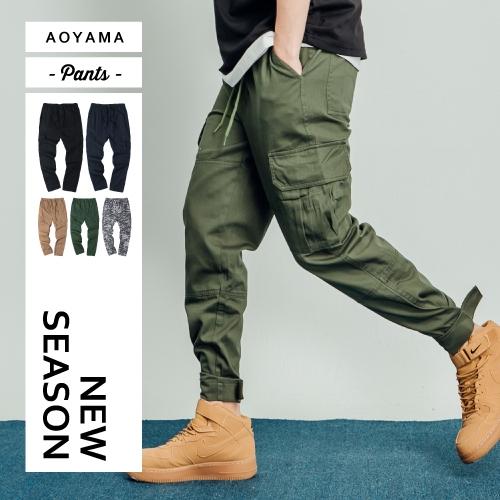 縮口褲  美式寬鬆側邊大口袋工作褲【A88920】休閒褲 慢跑褲