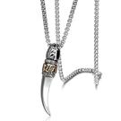 《QBOX 》FASHION 飾品【CD40-03】精緻個性復古圖環紋月牙鑄造鈦鋼墬子項鍊/掛飾