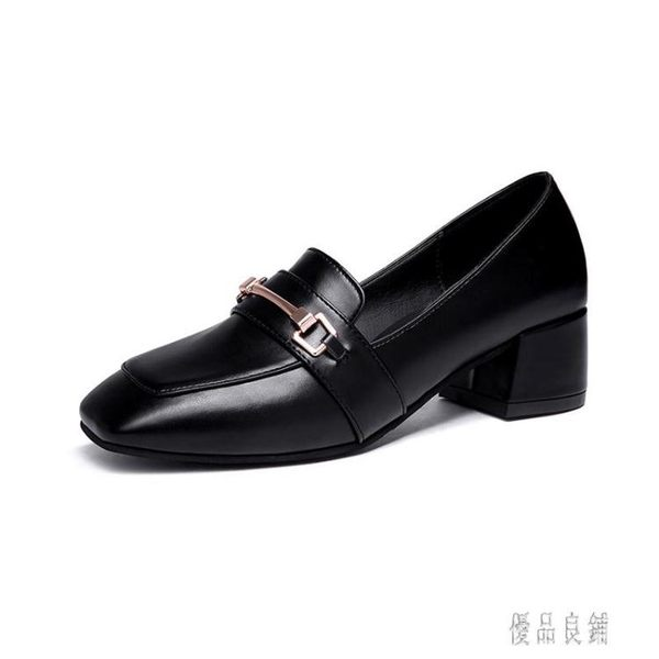 中大尺碼女鞋 簡約時尚小皮鞋女英倫風潮鞋百搭中跟鞋子粗跟單鞋夏 LJ1942【優品良鋪】