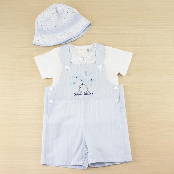 【愛的世界】格紋吊帶褲禮盒/6個月~1歲-台灣製-  ---禮盒推薦