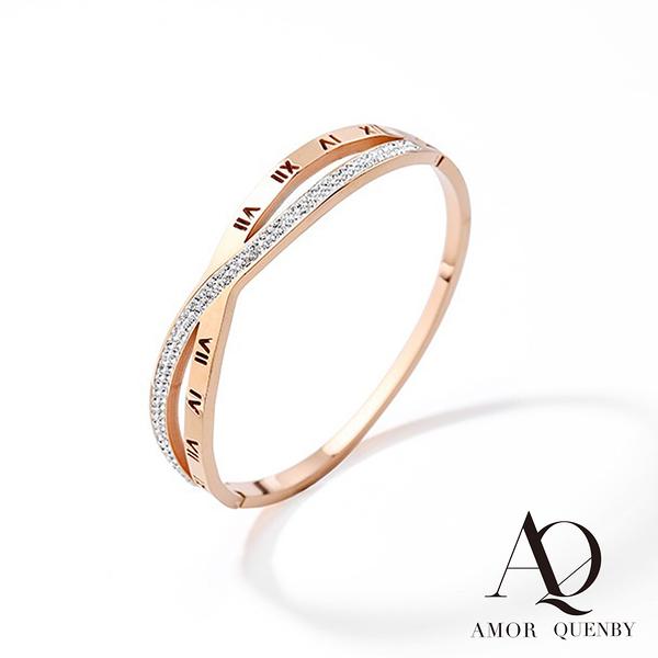 AQ 微鑲水鑽鈦鋼玫瑰金交叉設計風格手環/首飾(AMOR Quenby)