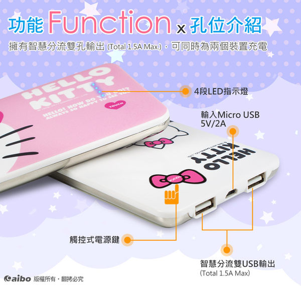 【貓頭鷹3C】【Hello Kitty】甜蜜浪漫 12000 Plus 極致輕薄行動電源-[BPK-NMV72K]