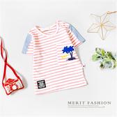 椰子樹口袋條紋短袖上衣 夏天 竹節棉 短袖 T恤 條紋 上衣 短T 寶寶 小童 男童 童裝 哎北比童裝