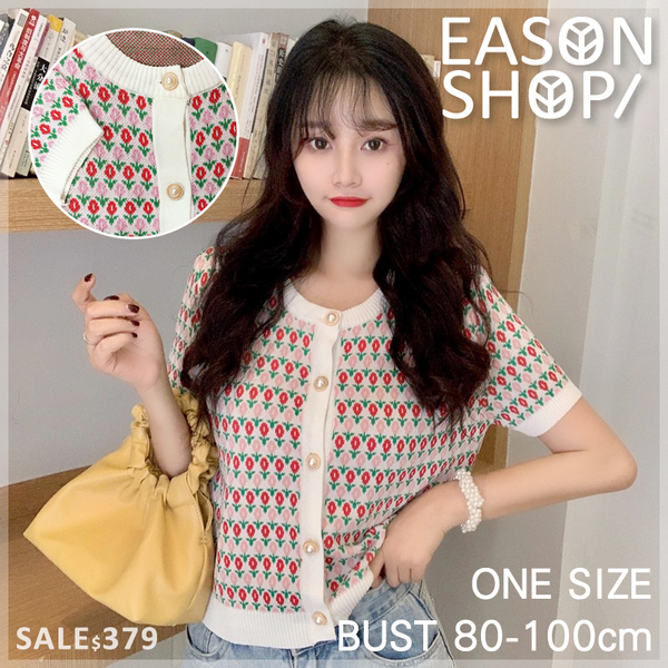 EASON SHOP(GW6922)實拍小香風滿版花朵短版圓領短袖針織衫外套珍珠鈕釦排釦罩衫薄開衫女上衣服